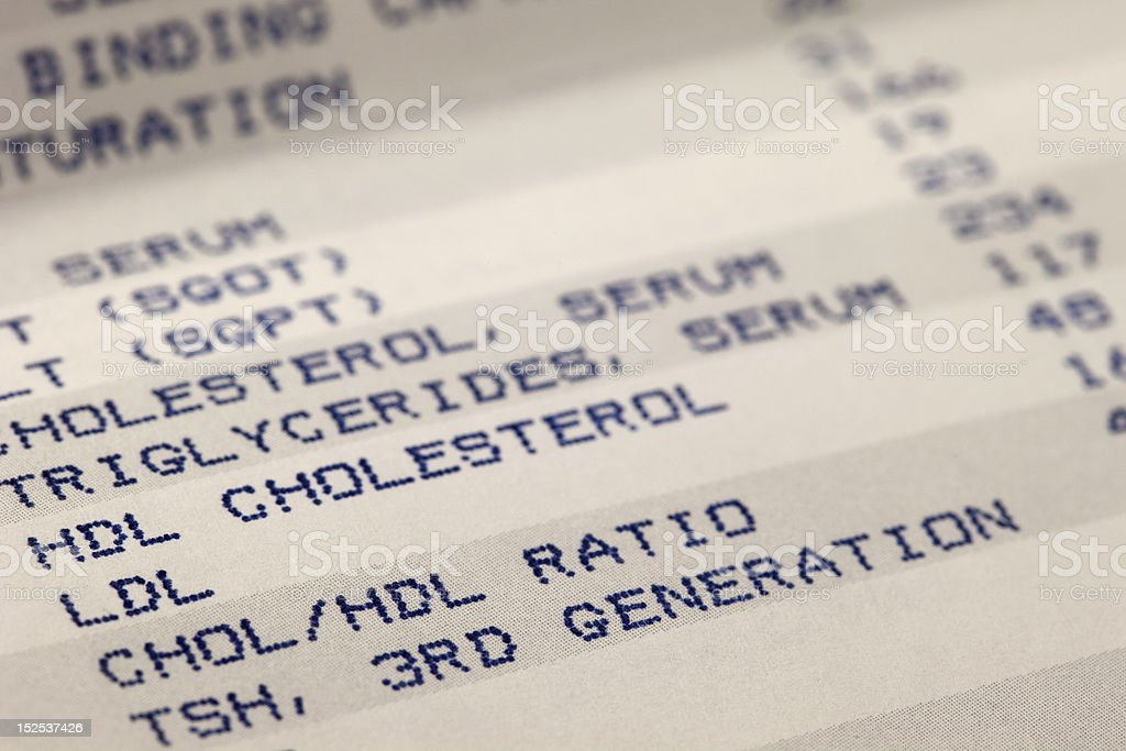 blood and cholesterol screening results stock photo