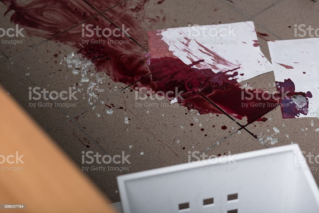 Blood and glass stock photo