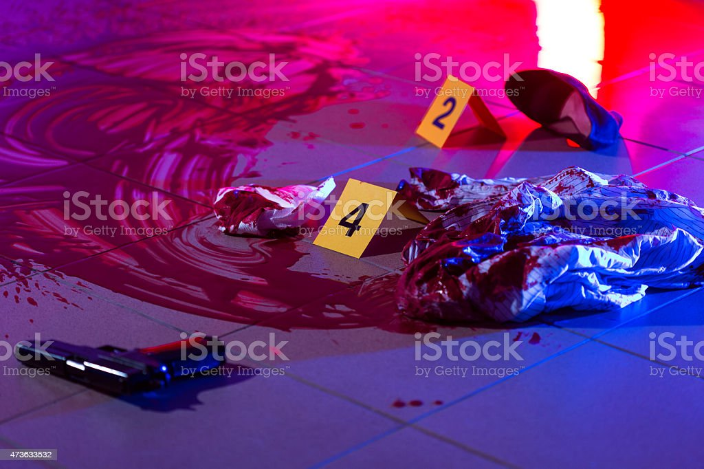 Blood at the murder scene stock photo