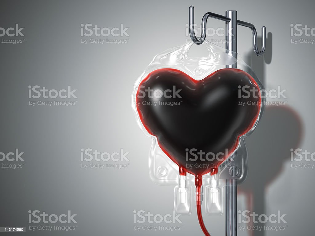 Blood Bag Heart. Donate Concept stock photo