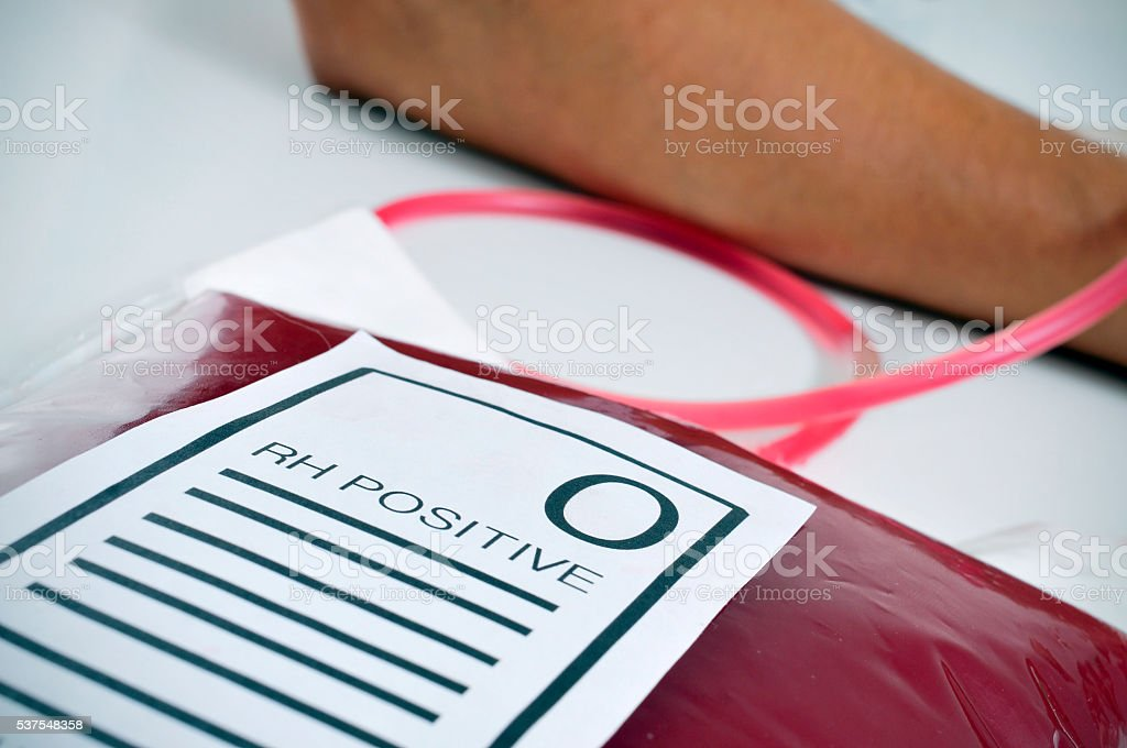 blood bag with the text O RH positive stock photo