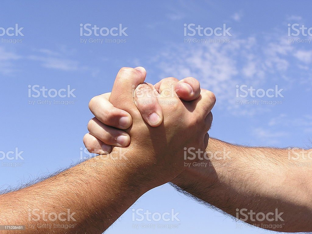 Blood Brothers Power Handshake stock photo