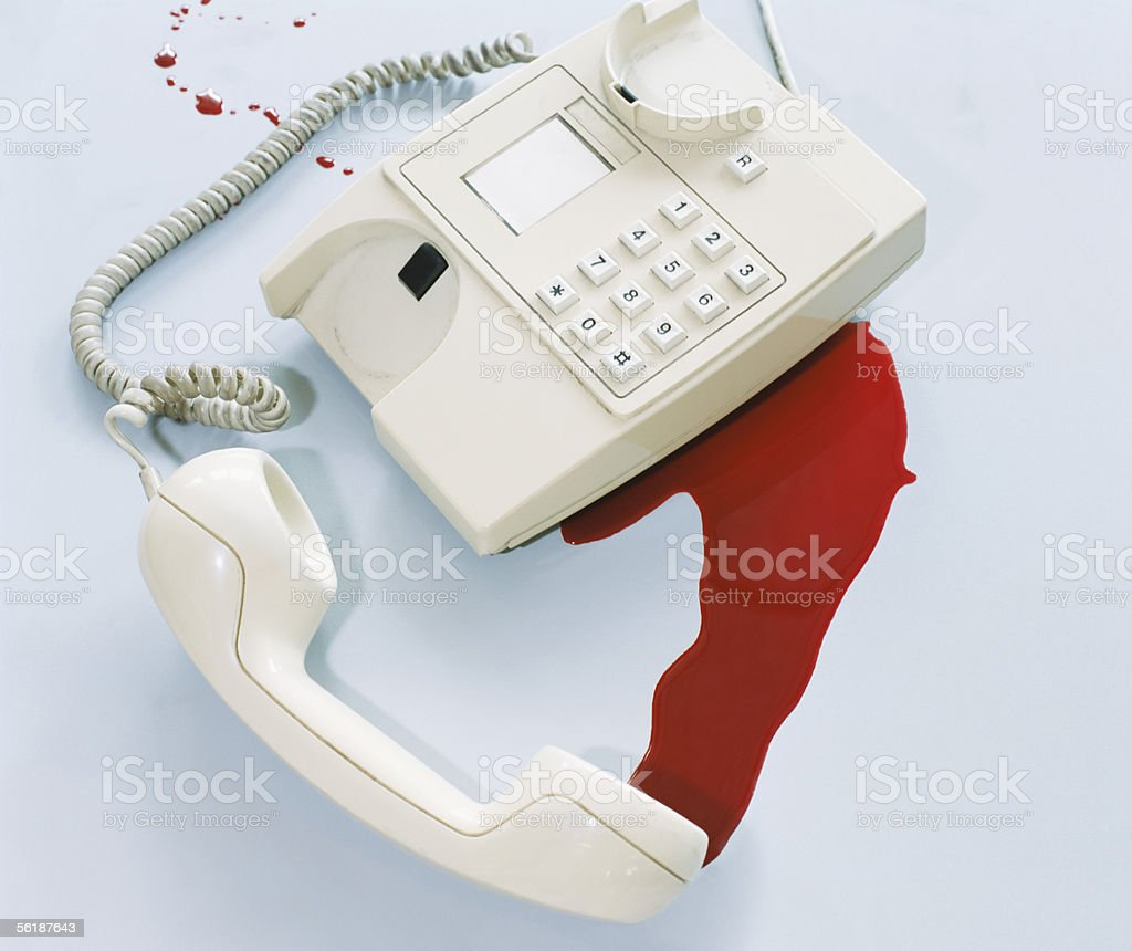 Blood by a telephone royalty-free stock photo