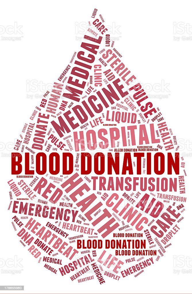 Blood donation pictogram with red wordings stock photo