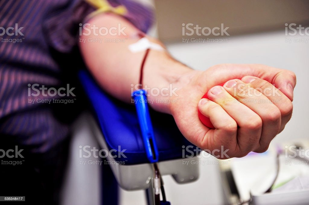 Blood donor hand stock photo