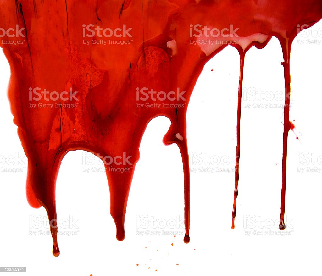 Blood Dripping on White Background stock photo