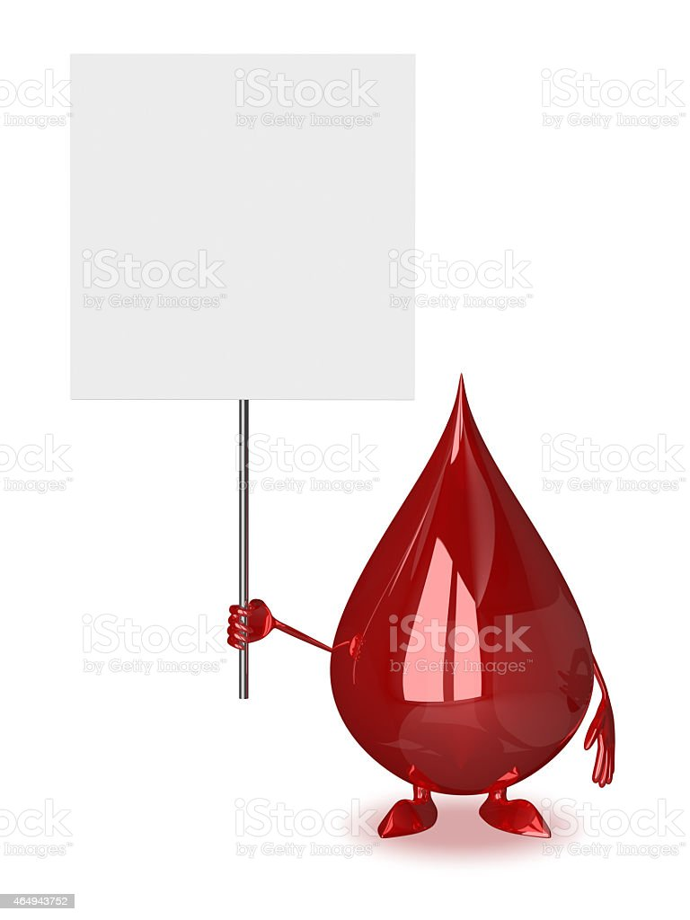 Blood drop with placard vector art illustration