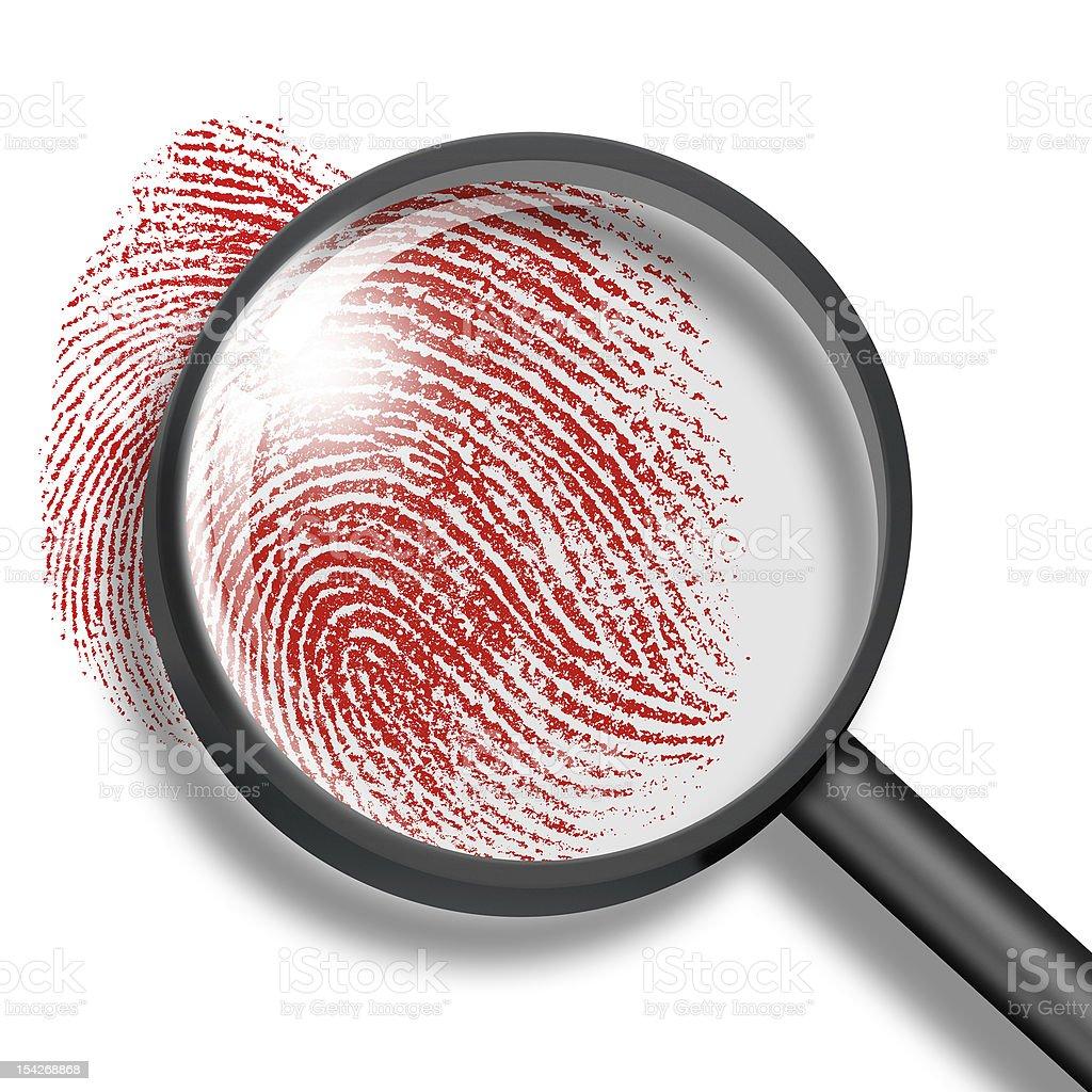 blood fingerprint through magnifying glass stock photo