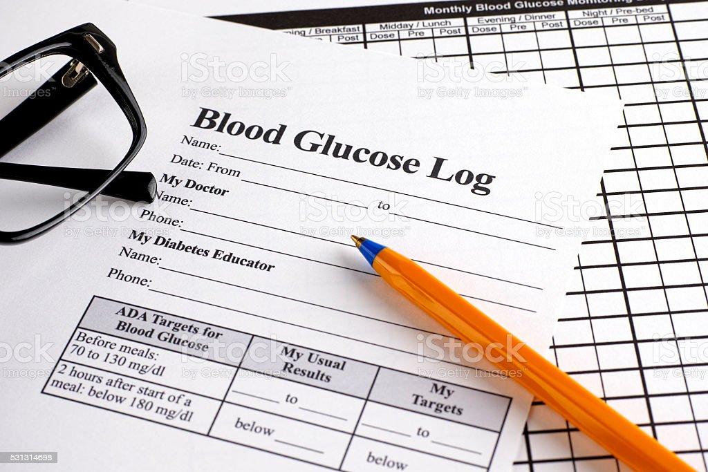 Blood Glucose Log form stock photo