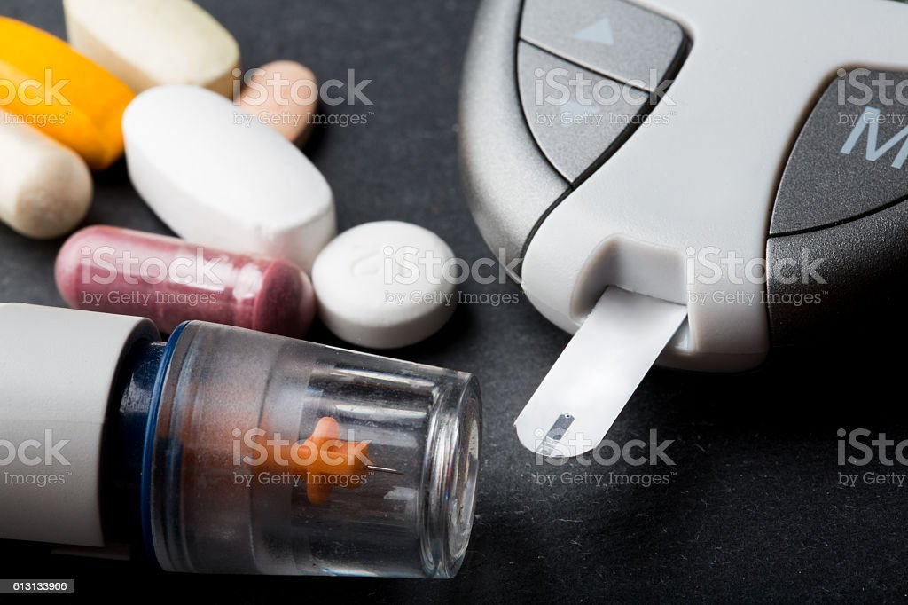 Blood Glucose Testing Equipment for Diabetes stock photo