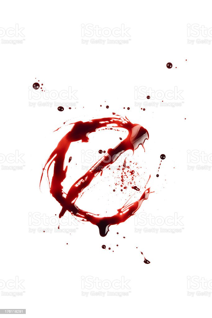 Blood Letter E Wet Lowercase stock photo
