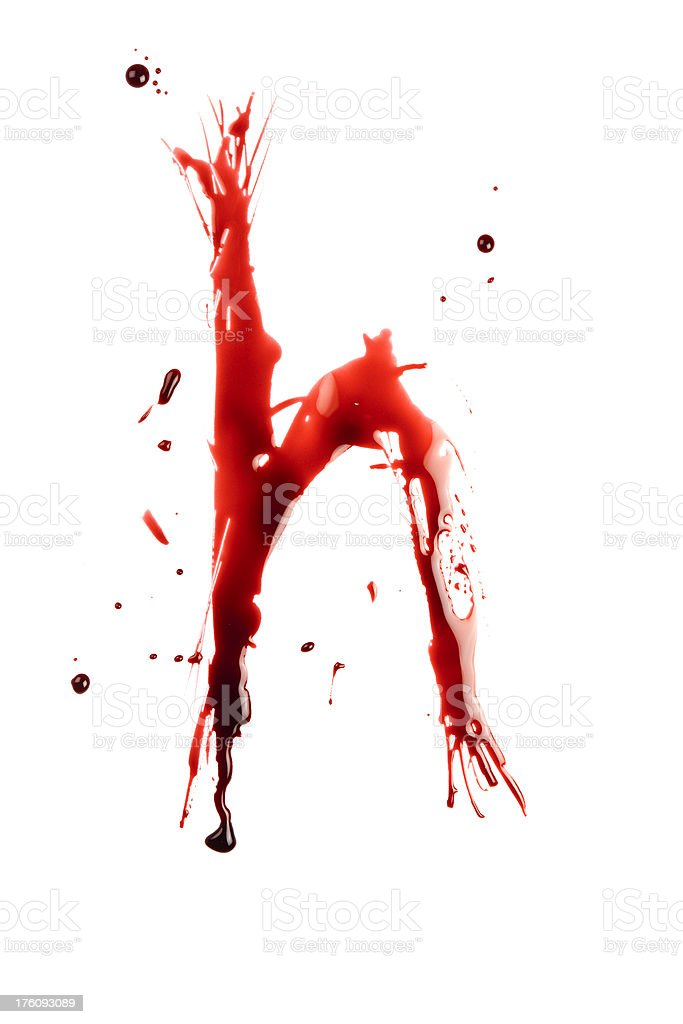 Blood Letter H Wet Lowercase royalty-free stock photo