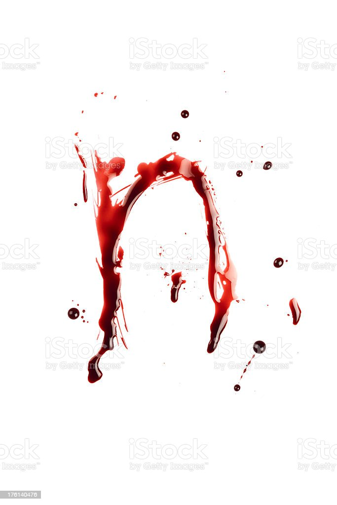 Blood Letter N Wet Lowercase royalty-free stock photo
