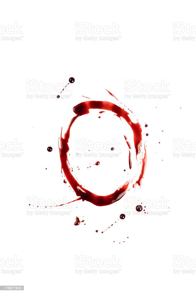 Blood Letter O Wet Lowercase royalty-free stock photo