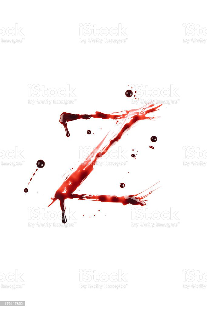 Blood Letter Z Wet Lowercase royalty-free stock photo