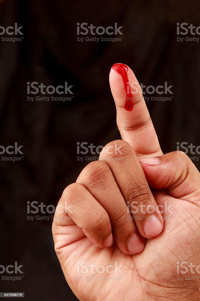 Blood on  finger stock photo