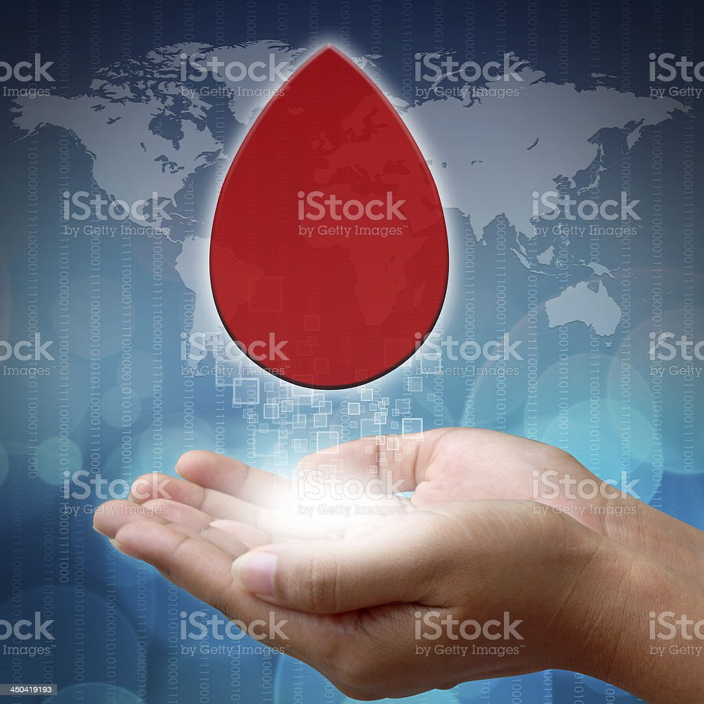 Blood on hand with white medical royalty-free stock photo