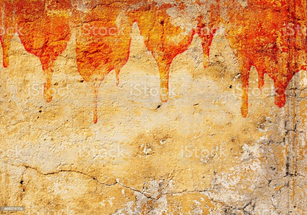 Blood on stucco wall stock photo