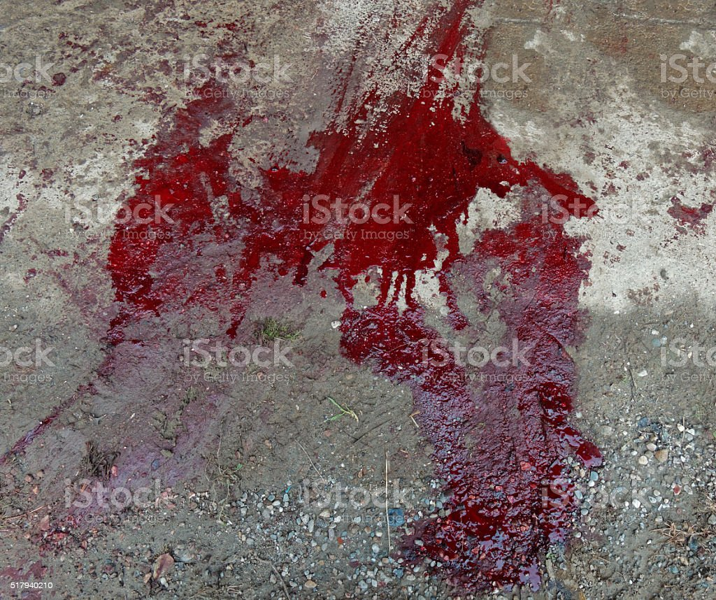 Blood on the concrete stock photo