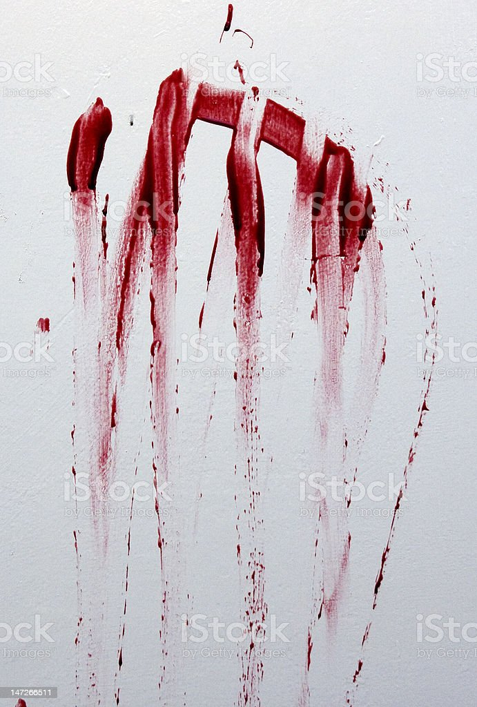 Blood on the wall stock photo
