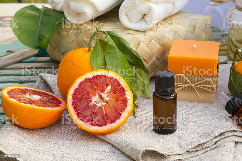 Blood orange essential oil stock photo