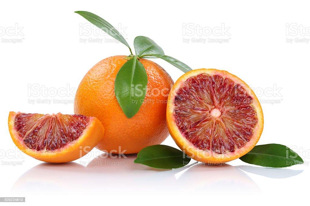 Blood orange fruit oranges slice slices with leaves isolated stock photo