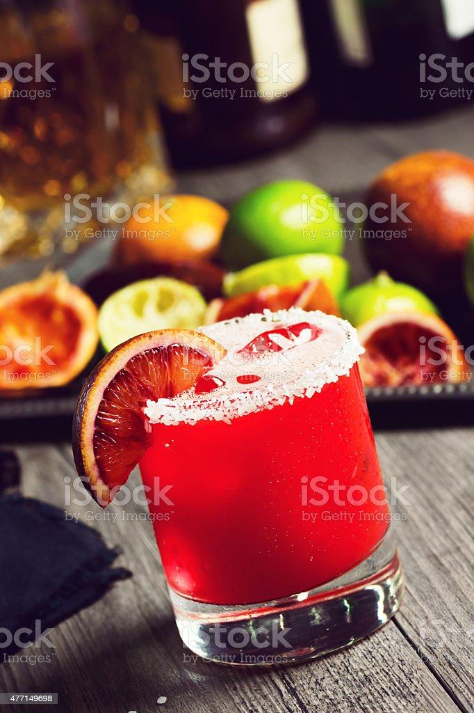 Blood Orange Margarita Cocktail on Bar stock photo