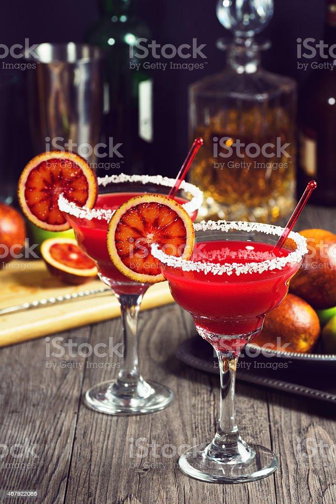 Blood Orange Margaritas on Vintage Bar stock photo
