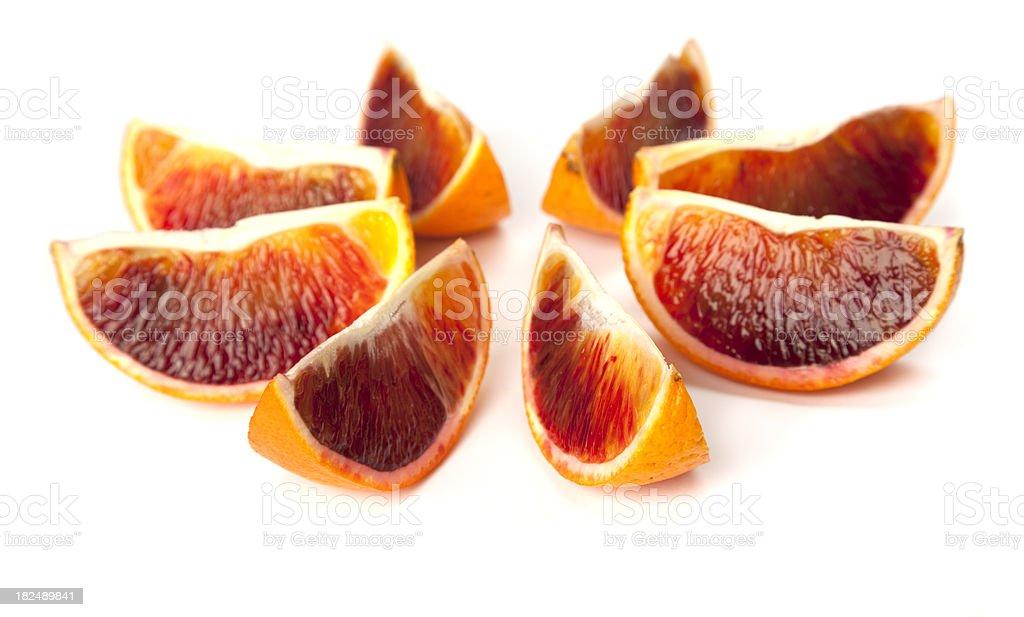 blood orange slices on white stock photo