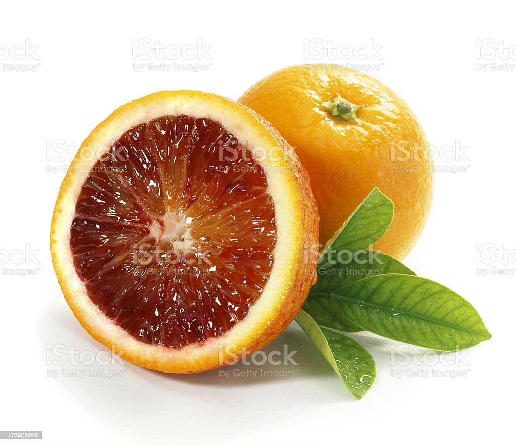 Blood Oranges with Leaf stock photo