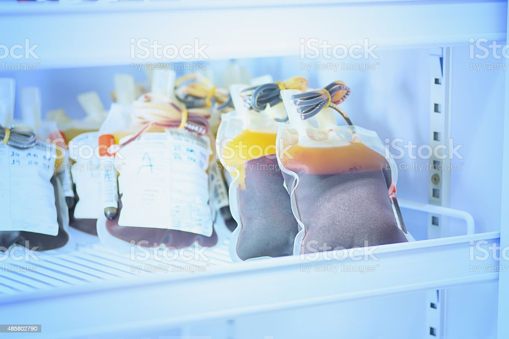 blood pouch in refrigerator at bloodbank stock photo