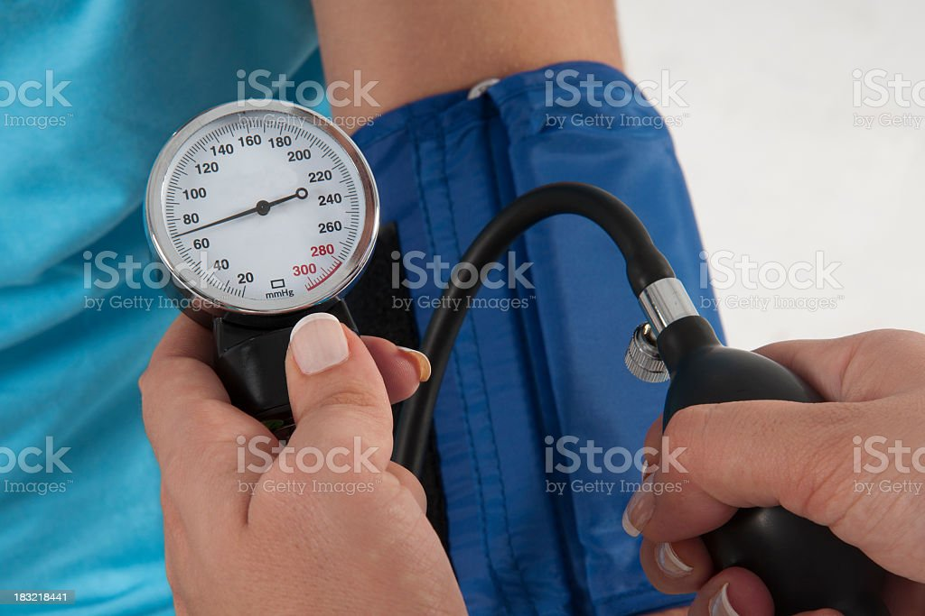 Blood pressure cuff is used for blood pressure checking royalty-free stock photo