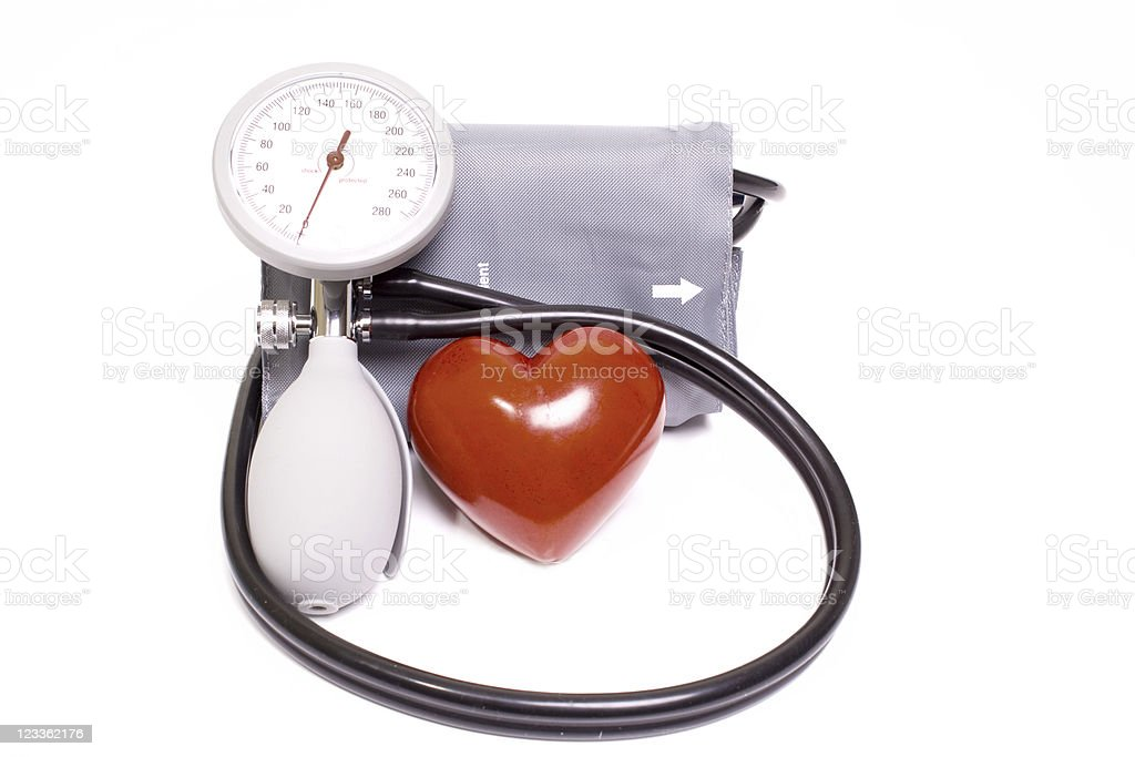 Blood Pressure Gauge and Heart stock photo