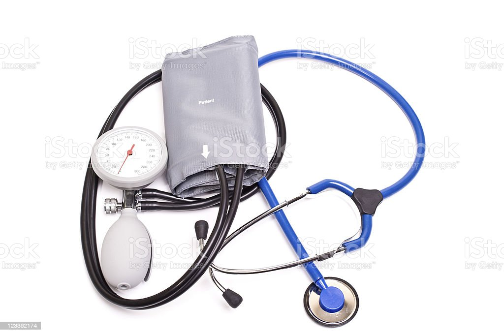 Blood Pressure Gauge and Stethoscope stock photo