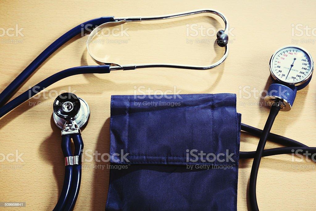 Blood pressure gauge and stethoscope ready for health check stock photo