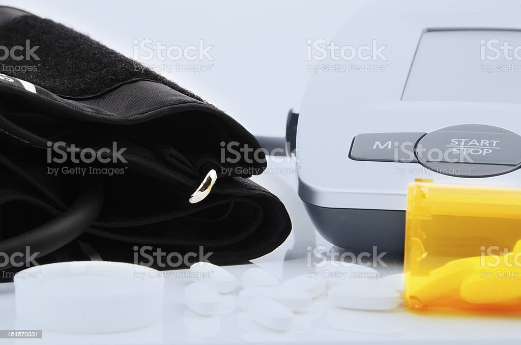 Blood Pressure Gauge with Medication stock photo