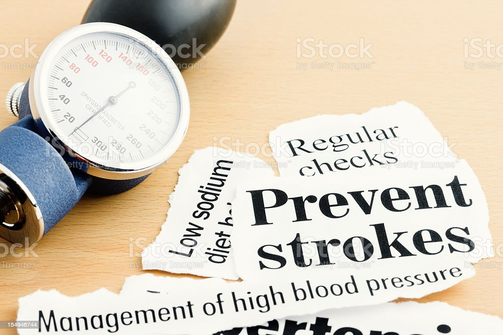 Blood pressure gauge with stroke prevention headlines royalty-free stock photo