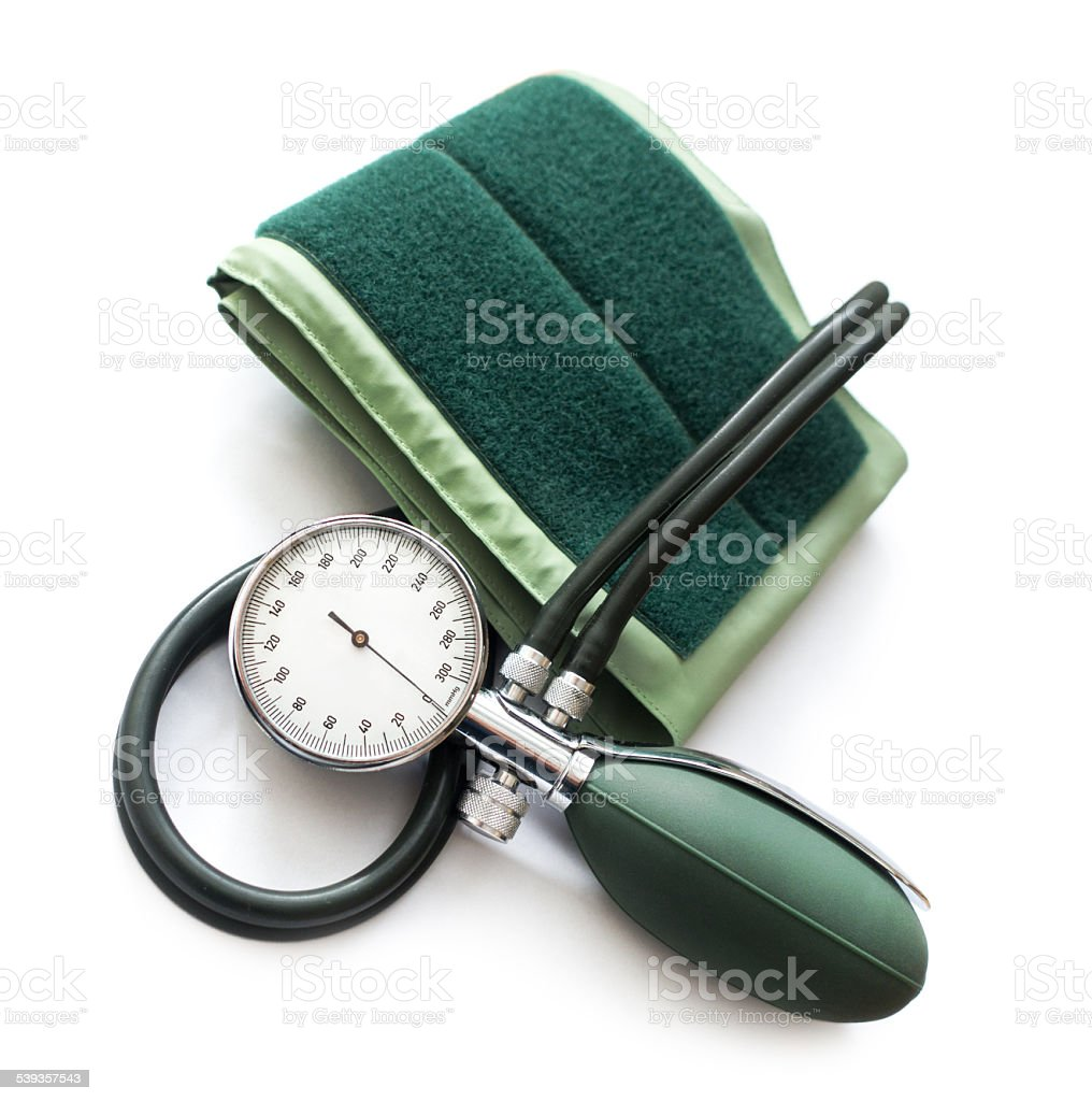 Blood pressure kit isolated on the white background stock photo