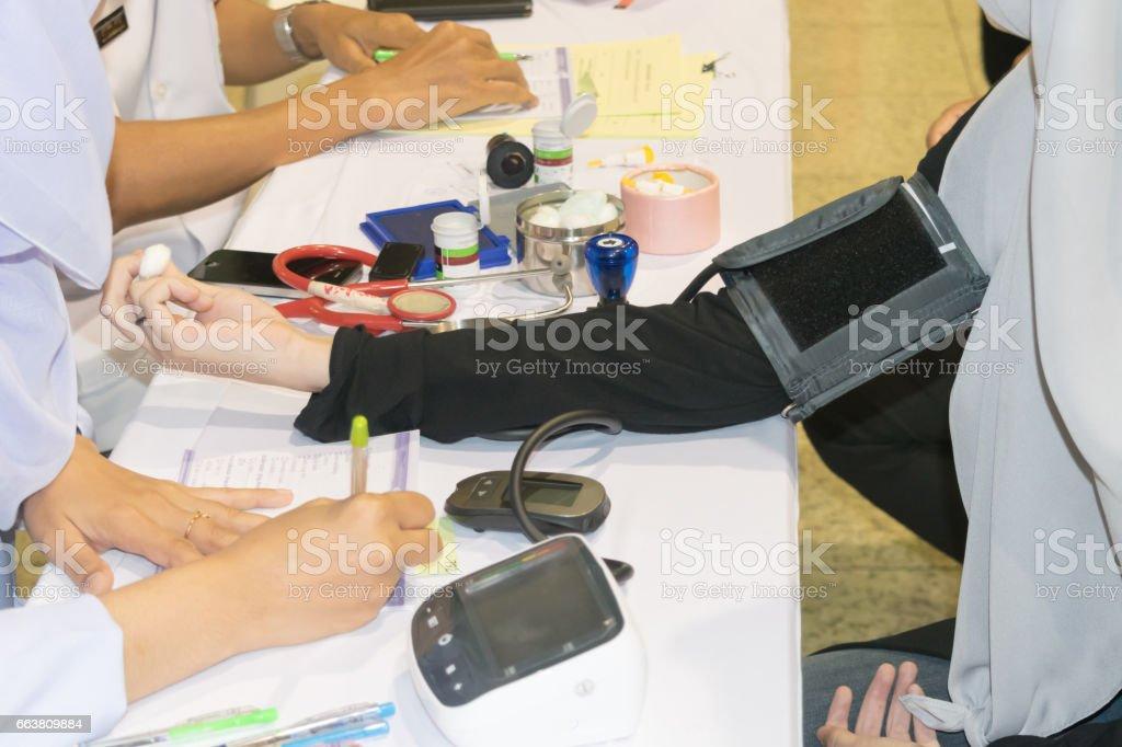 Blood pressure meter Pulse gauge Medical treatment stock photo
