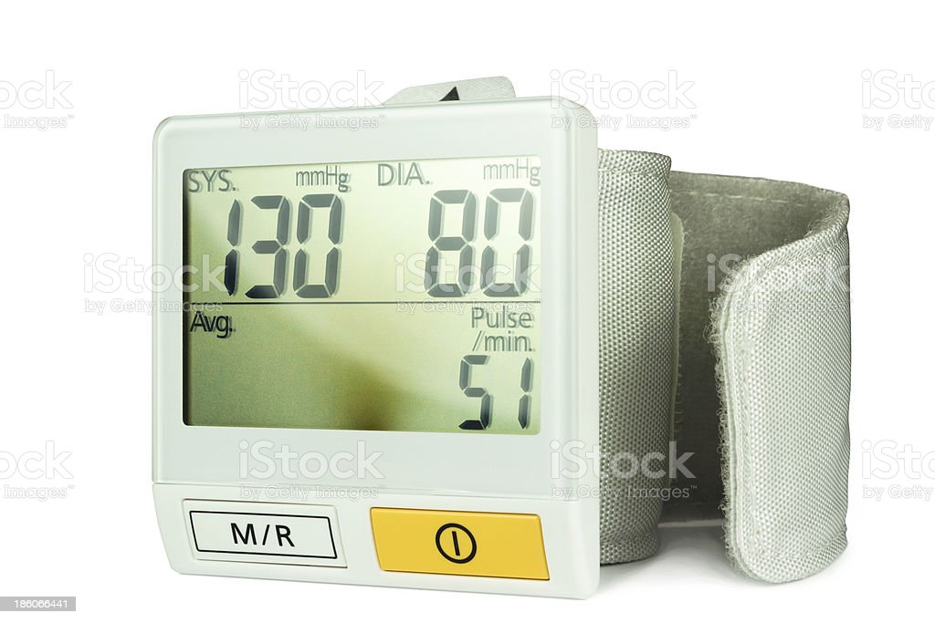 Blood pressure monitor for wrist stock photo