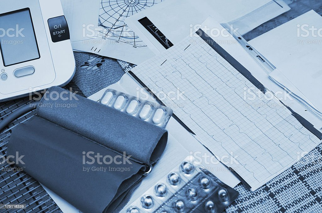 Blood pressure, pulse and medicament royalty-free stock photo