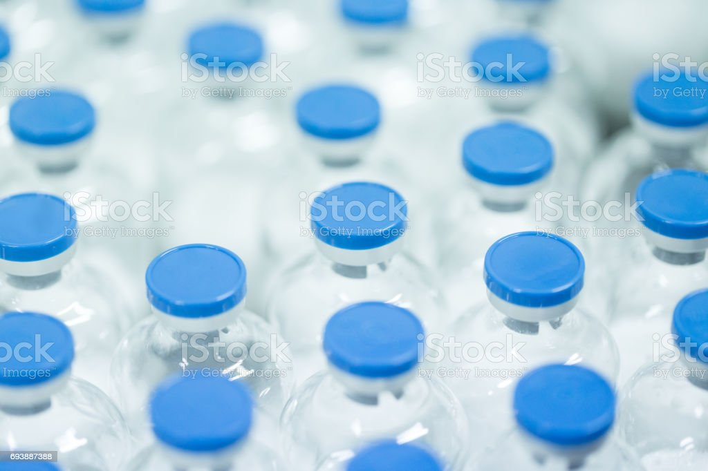 blood product in bottle packed in the pharmacy workshop stock photo