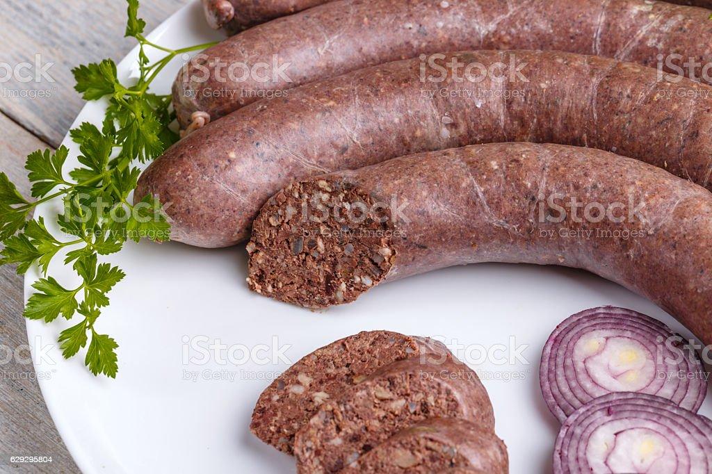 Blood pudding sausage stock photo