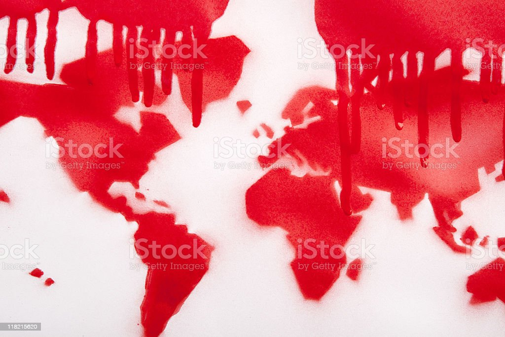 Blood Red World Map royalty-free stock photo