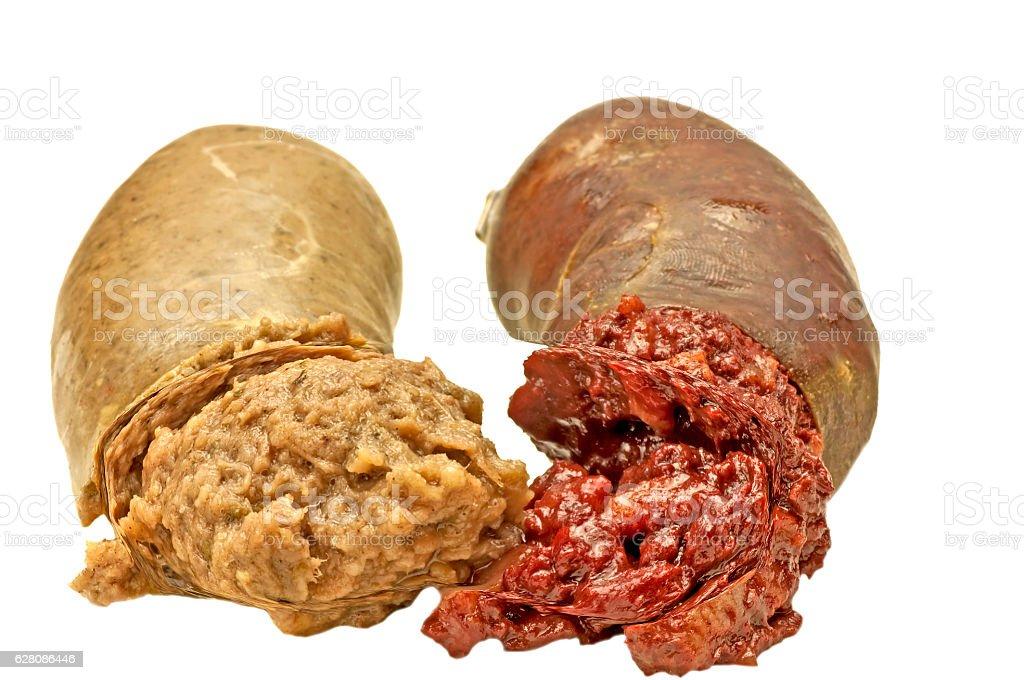 blood sausage and liversausage stock photo