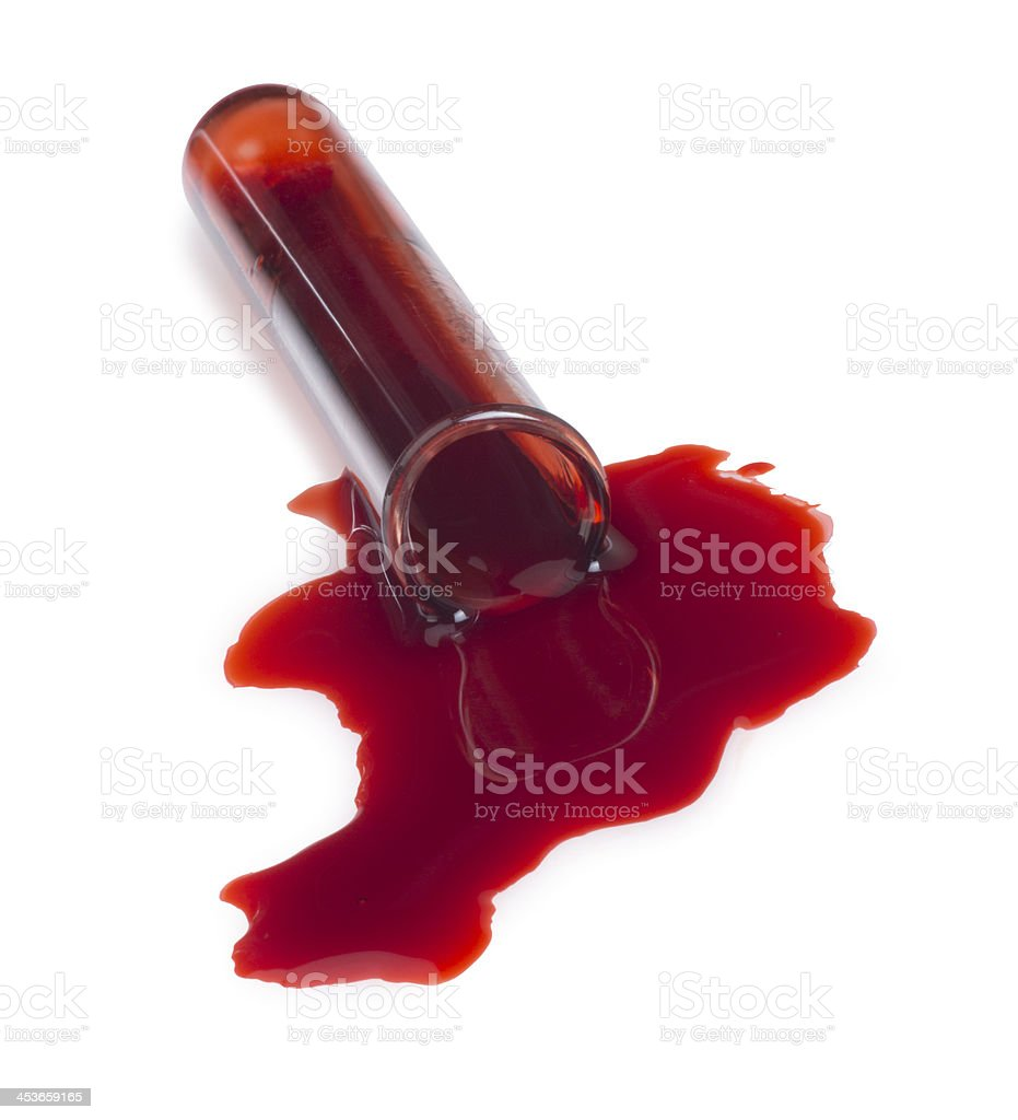 Blood Spilling out of a Test Tube royalty-free stock photo