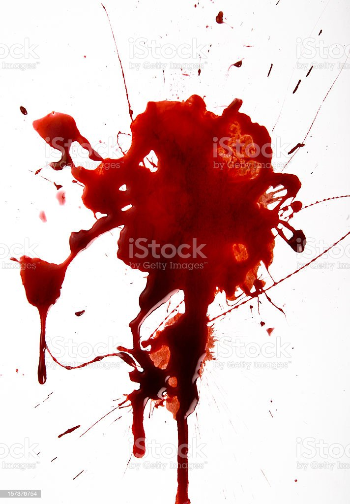 Blood Splat on White Background stock photo