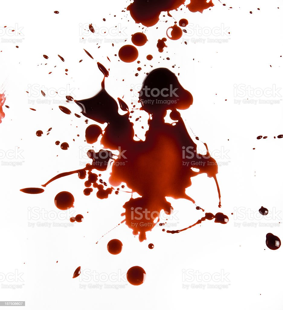 Blood Splat on White Background stock photo