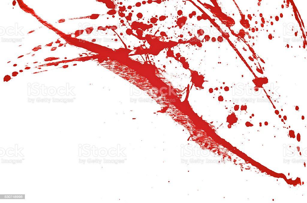 Blood splatter, red acrylic paint splash background texture grunge stock photo