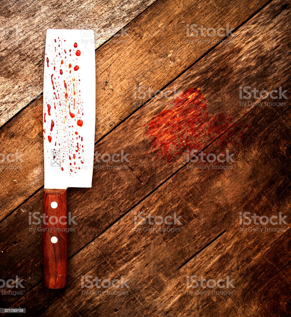 Blood Splattered Butcher Knife stock photo